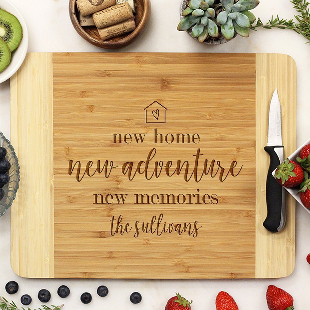 "Custom New Home Cutting Board, Custom Closing Gift, New Home New Adventures, Personalized Cutting Board ""The Sullivans"""