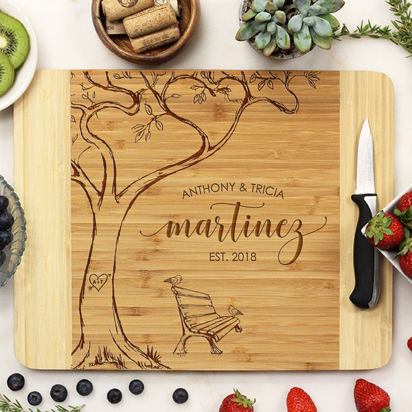 Custom Cutting Board with Tree & Bench, Personalized Wedding Gift, Anthony & Tricia Martinez
