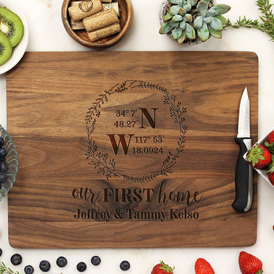 "Custom Our First Home Cutting Board, Cutting Board with Home Coordinates, Our First Home, Personalized Cutting Board ""Jeffrey & Tammy Kelso"""