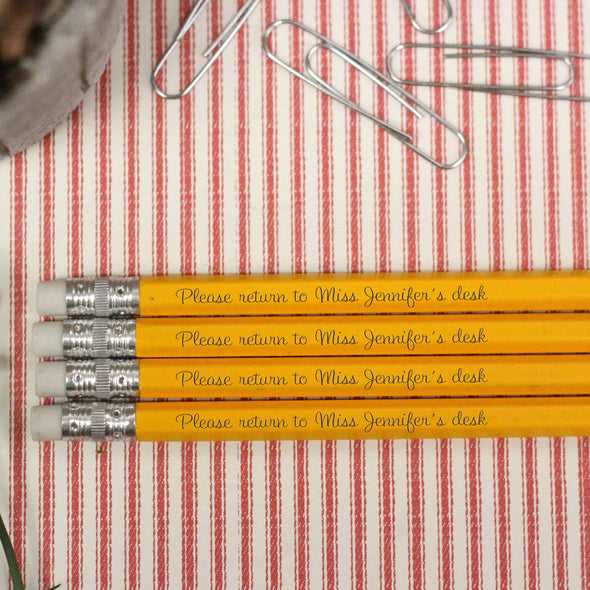 "Engraved Pencil Packs - ""Please Return to Miss Jennifer"""