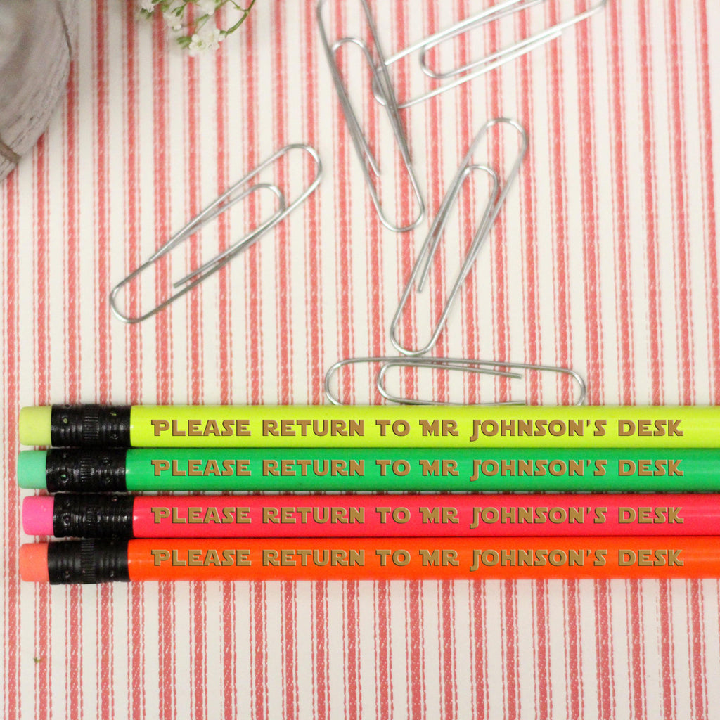 "Engraved Pencil Packs - ""Please Return to Mr. Johnson"""