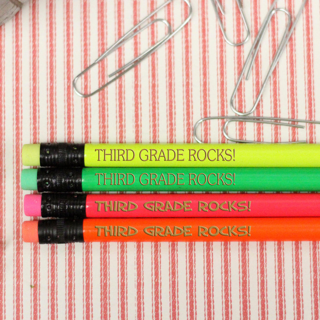 "Engraved Pencil Packs  - ""Third Grade Rocks"""
