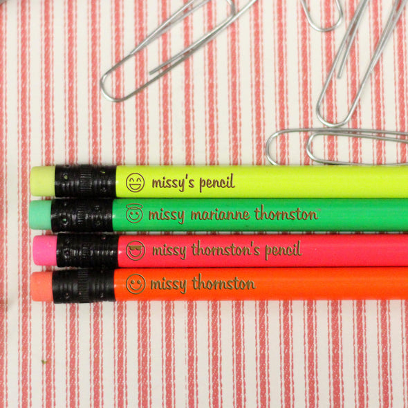 "Engraved Pencil Packs - ""Missy Smiley Faces"""