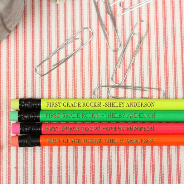 "Engraved Pencil Packs - ""First Grade Rocks - Shelby"""