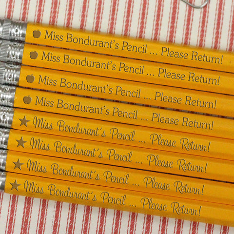 "Engraved Pencil Packs - ""Miss Bondurant's Please Return"""