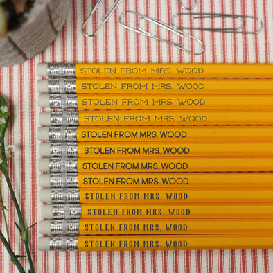 "Stolen from Teacher Pencils, Teacher Pencils, Teacher's Personalized Pencils ""Mrs Wood"""