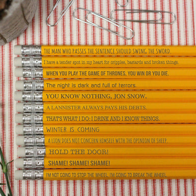 Game of Thrones Pencils, Pencils with Game of Thrones Quotes, Game of Thrones Quotes Set of 12