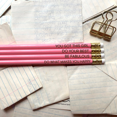 Positivity Pencils, Pink Inspirational Pencils, Fun Pencils