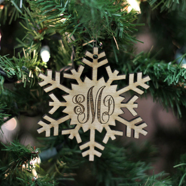 "Personalized Engraved Wood Ornament - ""Snowflake Monogram"""