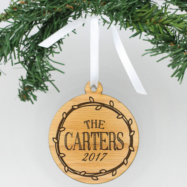 "Personalized Engraved Wood Ornament - ""Carters"""