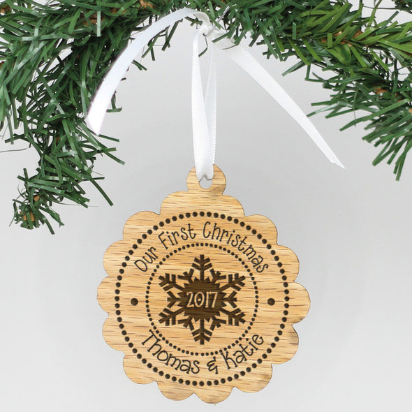 "Personalized Engraved Wood Ornament - ""Our First Christmas - Thomas Katie"""