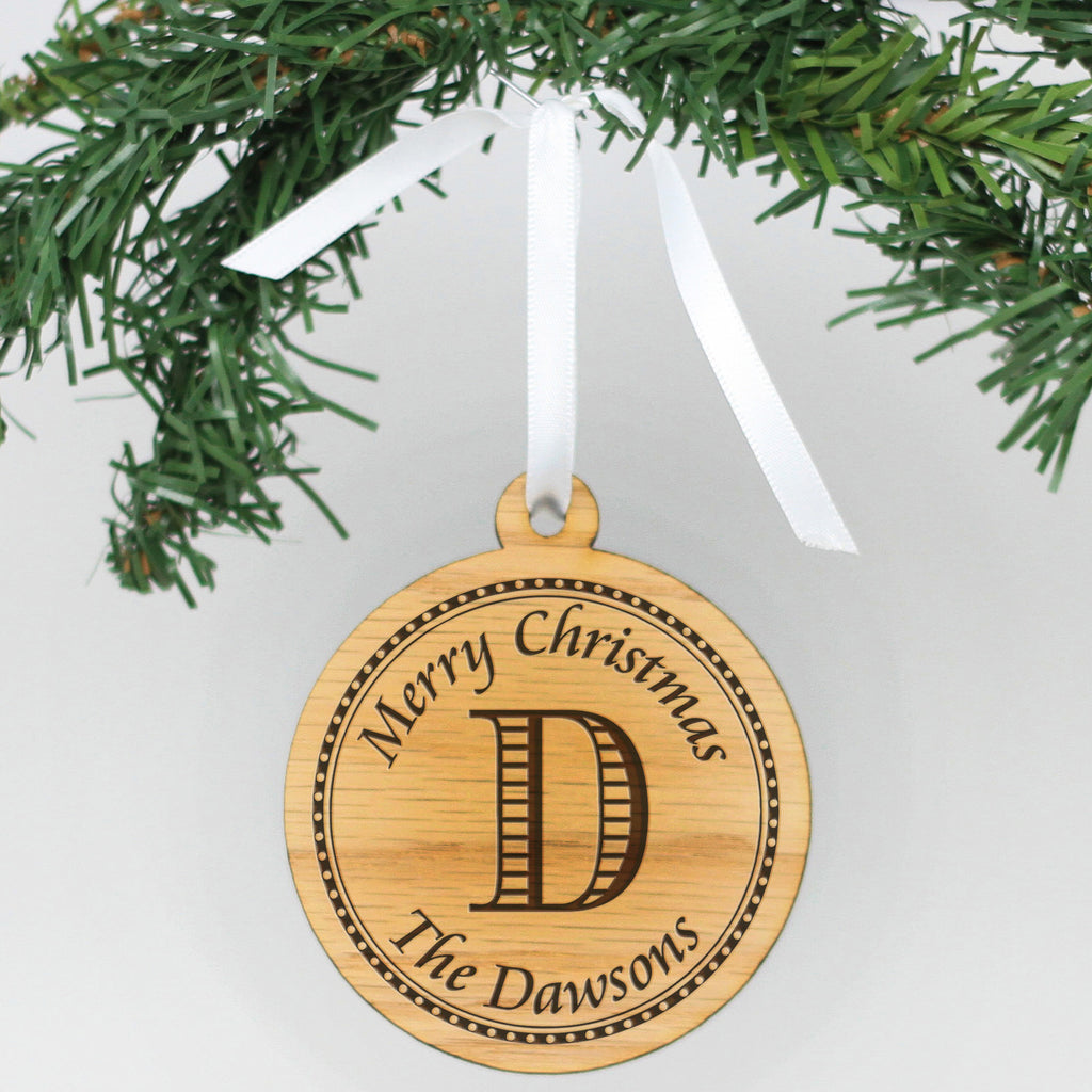 "Personalized Engraved Wood Ornament - ""Dawsons"""