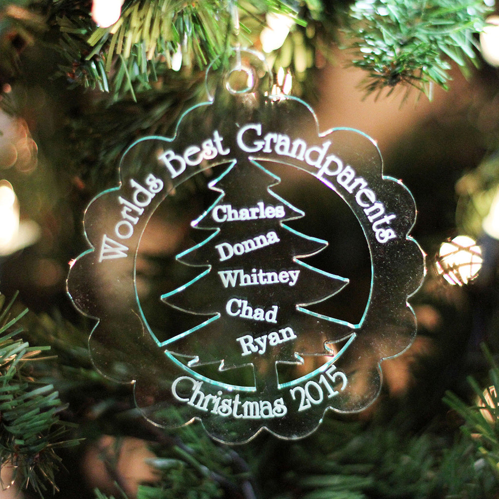 "Personalized Engraved Frosted White Acrylic Ornament - ""World's Best Grandparents"""