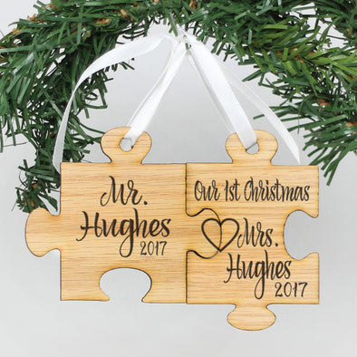 "Personalized Engraved Wood Ornament - ""Mr & Mrs Hughes Puzzle"""