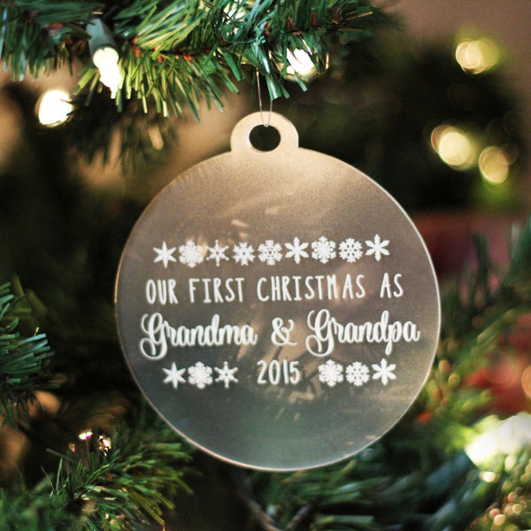 "Personalized Engraved Frosted Acrylic Ornament - ""Grandparent's First Christmas"""