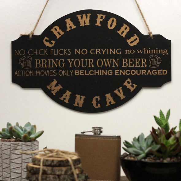 Mancave Rules Chalkboard Sign