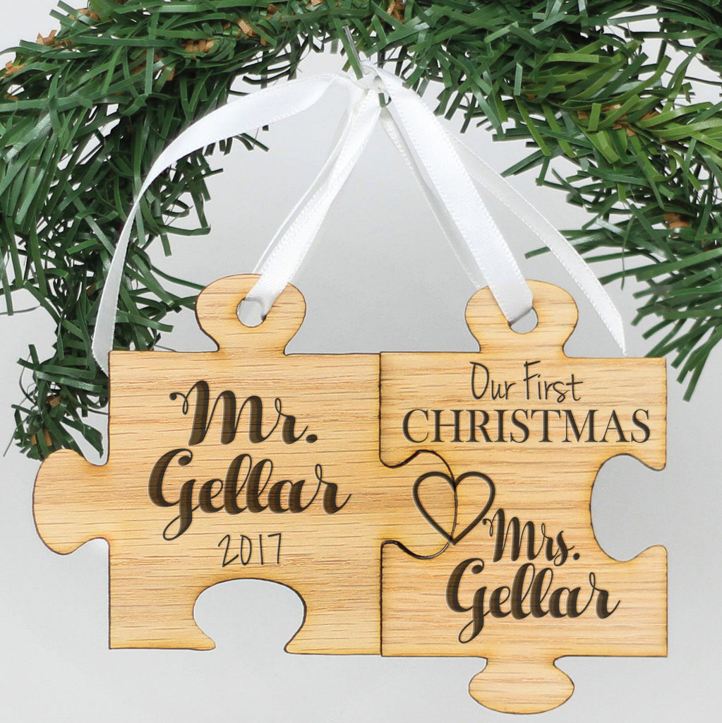 "Personalized Engraved Wood Ornament - ""Mr & Mrs Gellar Puzzle"""
