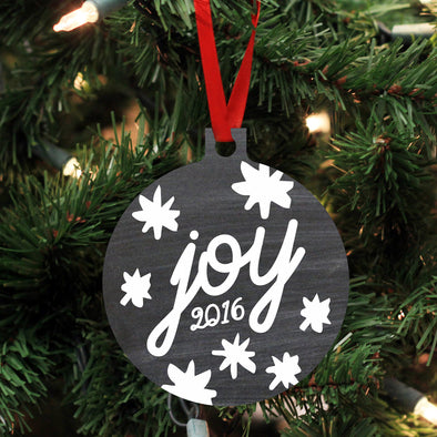 "Personalized Wood Ornament - ""Joy"""