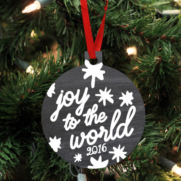 "Personalized Wood Ornament - ""Joy to the World"""