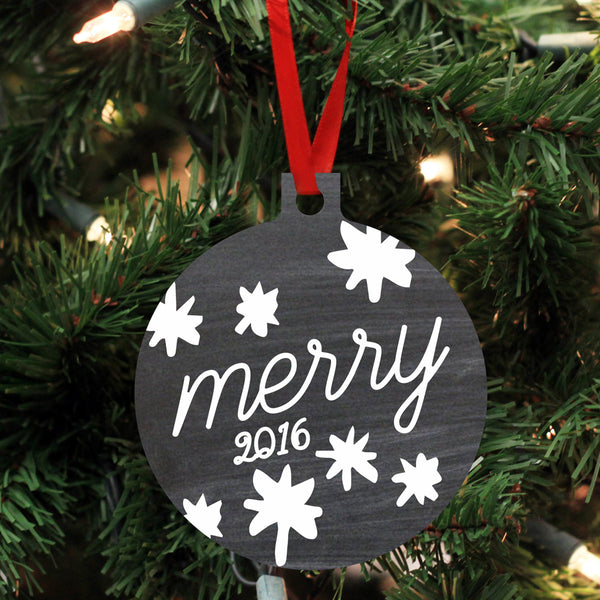 "Personalized Wood Ornament - ""Merry"""