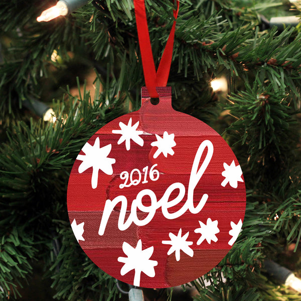"Personalized Wood Ornament - ""Noel"""