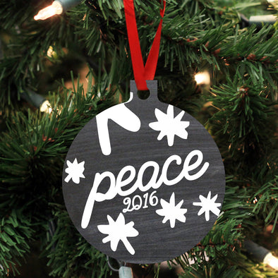 "Personalized Wood Ornament - ""Peace"""