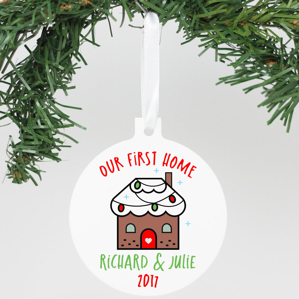 "Personalized Aluminum Ornament - ""Our First Home - Richard & Julie"""