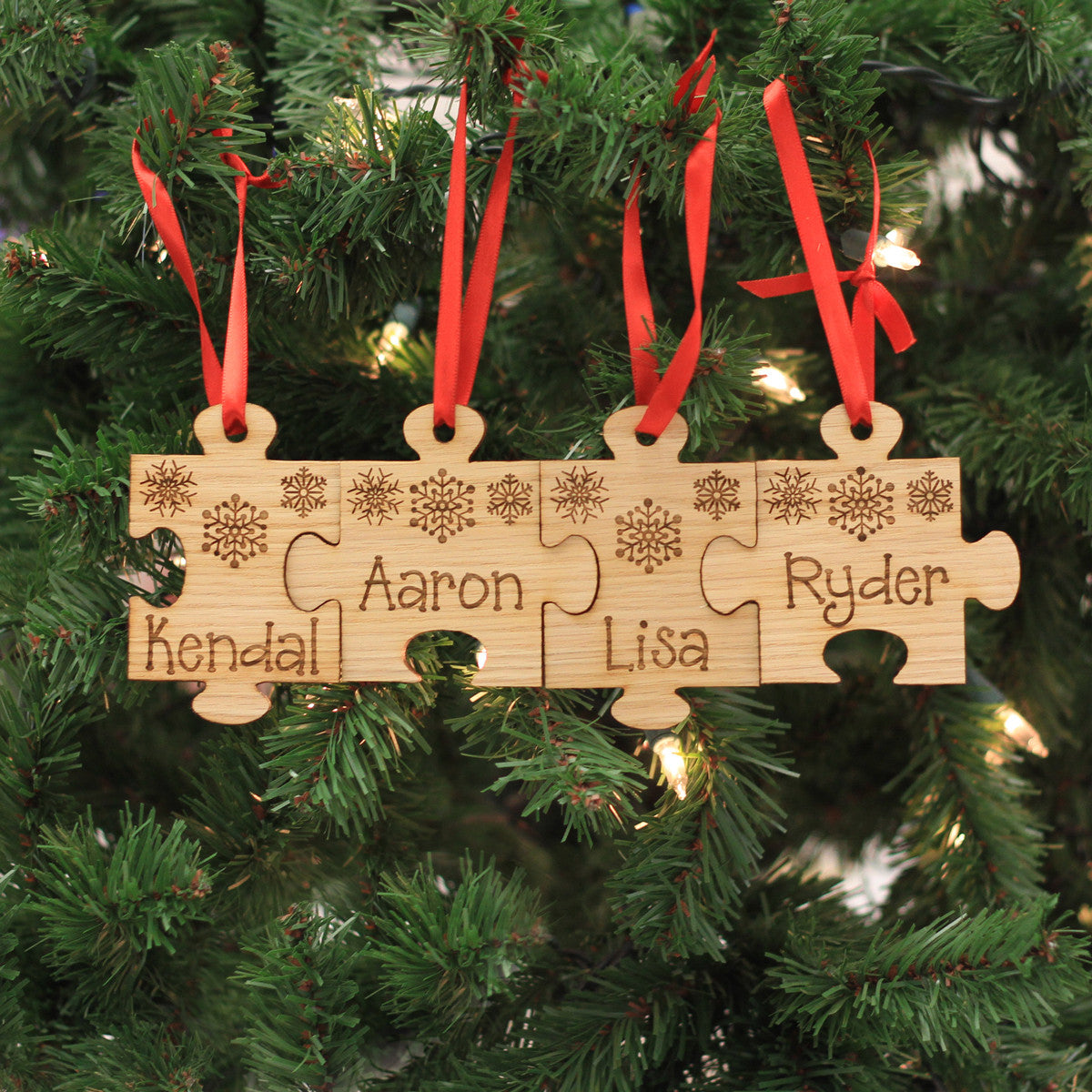 Personalized Engraved Wood Ornament  Family Name Puzzle  Stamp Out
