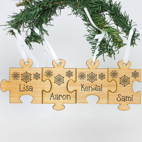 "Personalized Engraved Wood Ornament - ""Family Name Puzzle"""