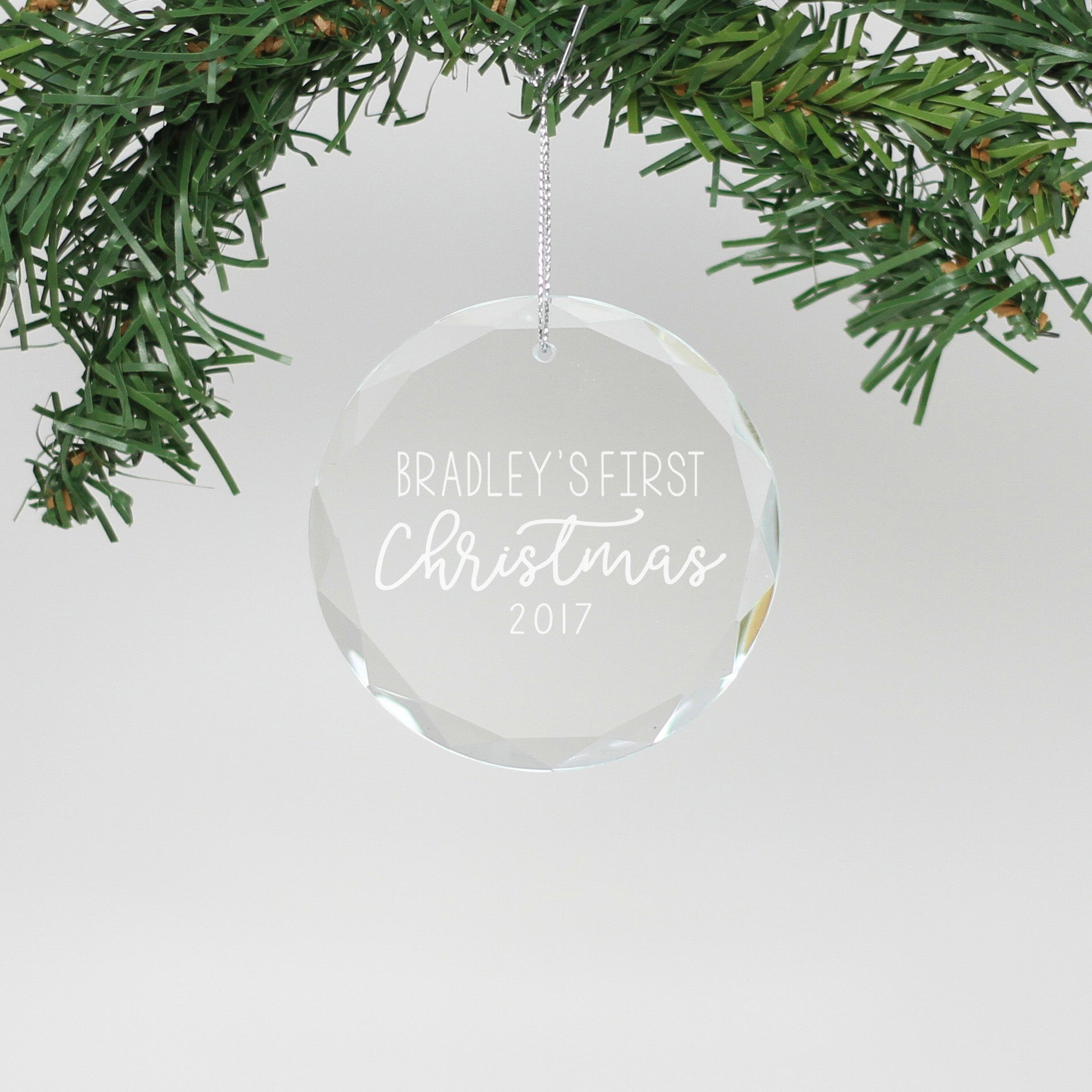 personalized engraved crystal ornament bradleys first christmas