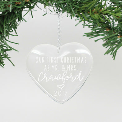 "Personalized Crystal Ornament - ""Our First Christmas - Crawford"""