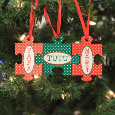 "Personalized Ornament - ""Family Name Puzzle"""