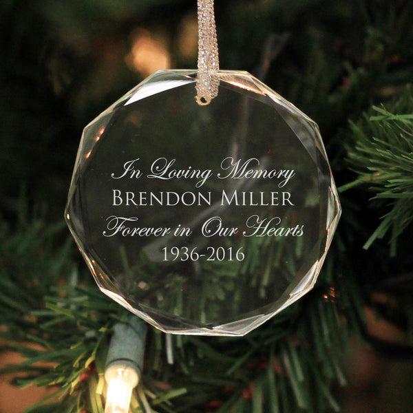 "Personalized Engraved Crystal Ornament - ""In Loving Memory - Brendon"""