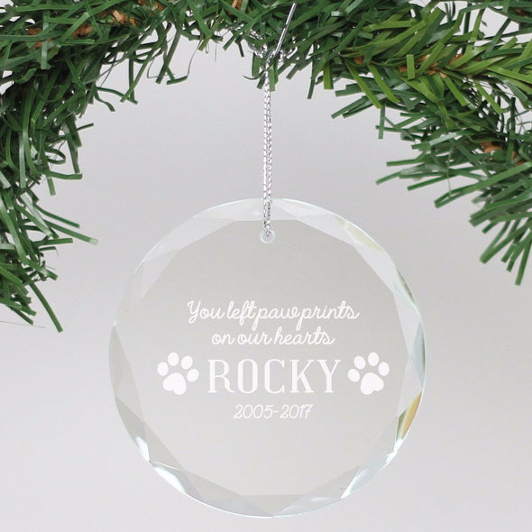 "Personalized Engraved Crystal Ornament - ""In Loving Memory - Rocky"""