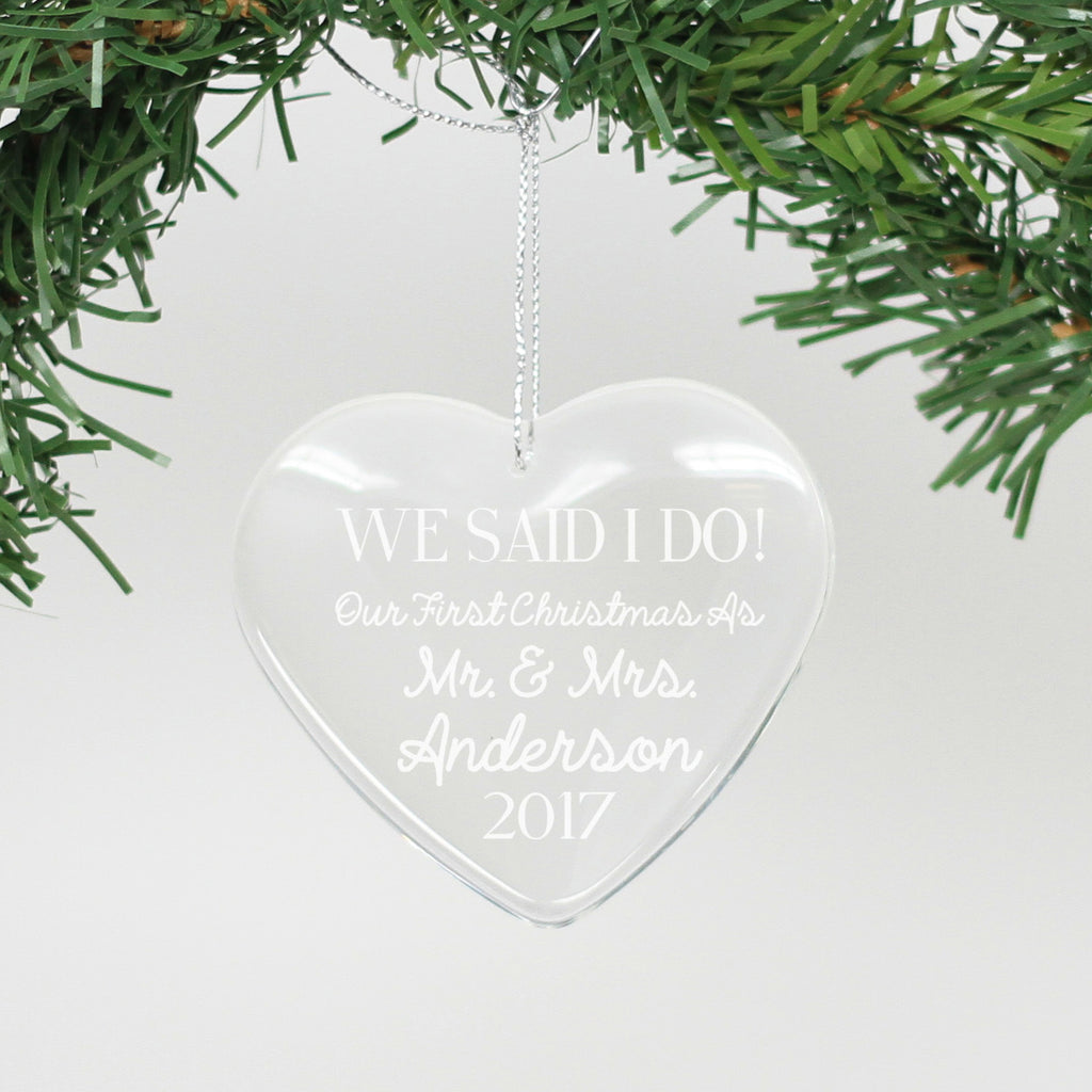 "Personalized Engraved Crystal Ornament - ""We Said I do - Anderson"""