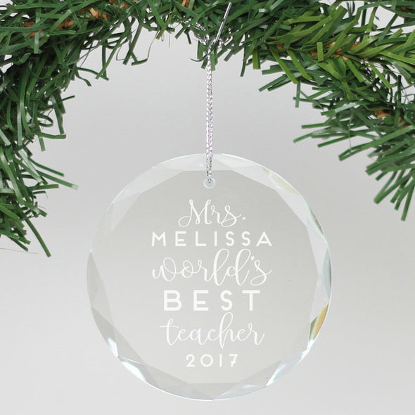 "Personalized Engraved Crystal Ornament - ""World's Best Teacher"""