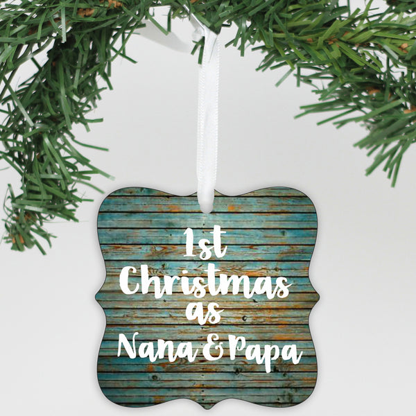 Personalized 1st Christmas As Nana & Papa Ornament