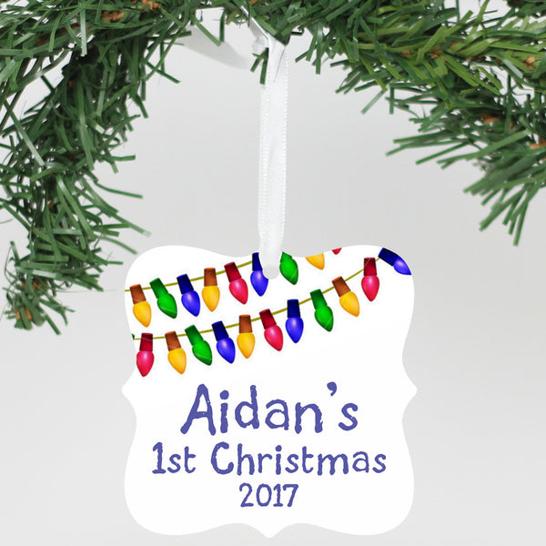 "Personalized Aluminum Ornament - ""First Name 1st Christmas"""