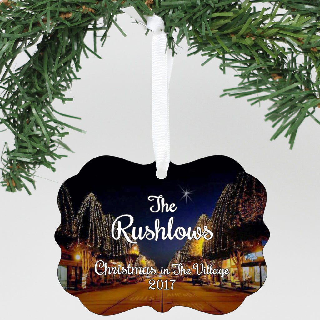"Personalized Aluminum Ornament - ""Christmas In The Village"""