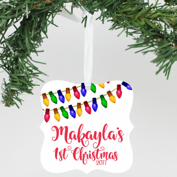 "Personalized Aluminum Ornament - ""First Name 1st Christmas 2017"""