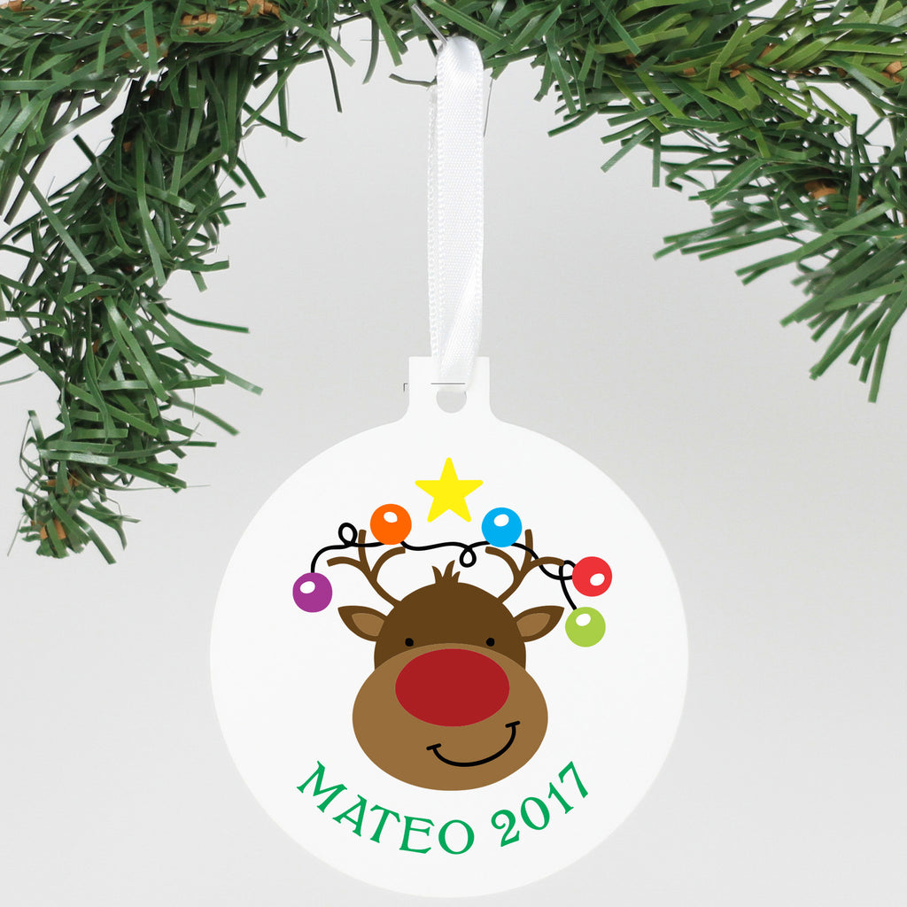 "Personalized Aluminum Ornament - ""Reindeer 2017"""