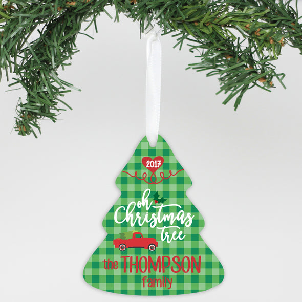 "Personalized Aluminum Ornament - ""Oh Christmas Tree """
