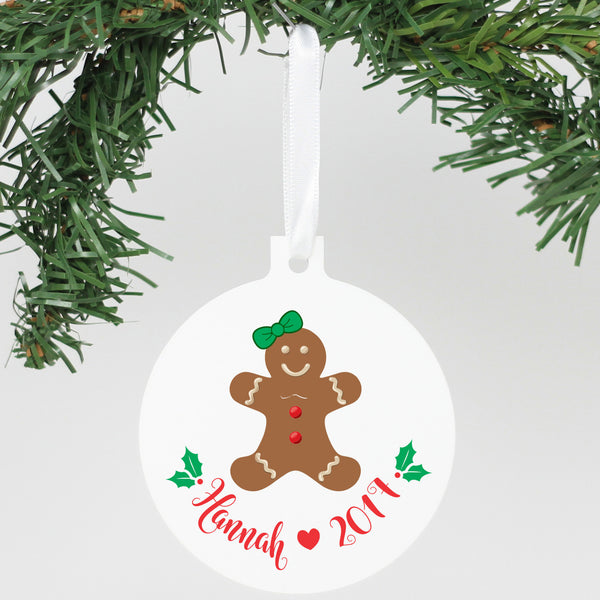 "Personalized Aluminum Ornament - ""Gingerbread Man"""