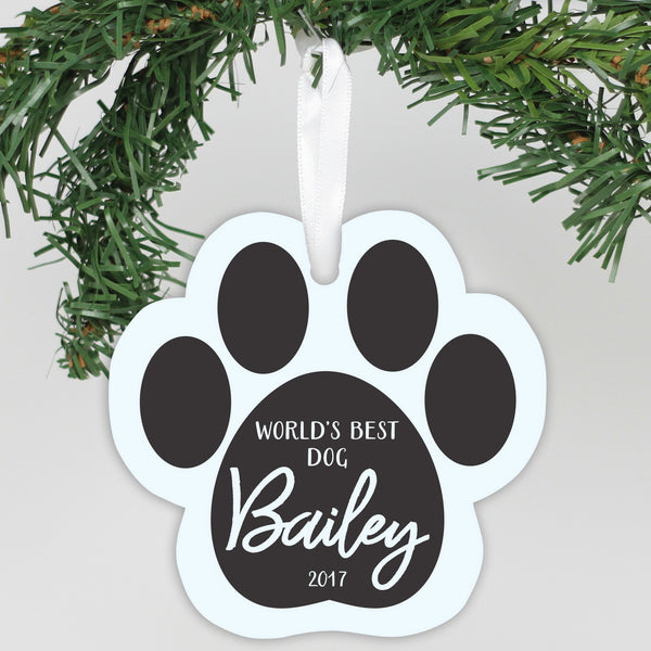 "Personalized Aluminum Ornament - ""Worlds Best Dog"""