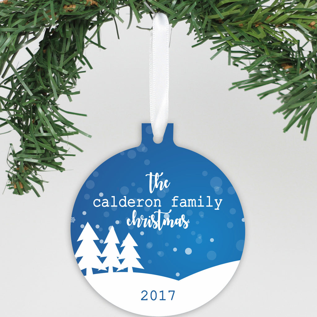 "Personalized Aluminum Ornament - ""Snowy Tree's"""
