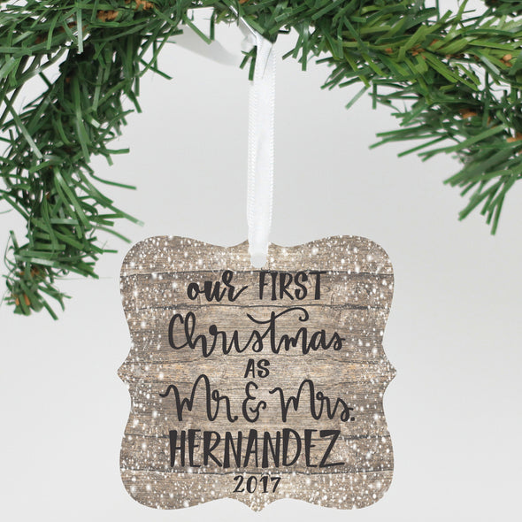 "Personalized Aluminum Ornament - ""Our First Christmas As 2017"""