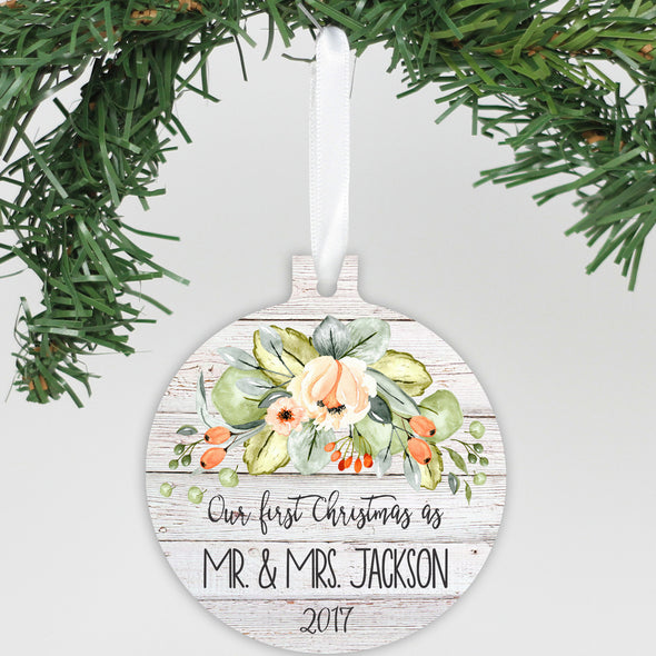 "Personalized Aluminum Ornament - ""Our First Christmas Flowers"""
