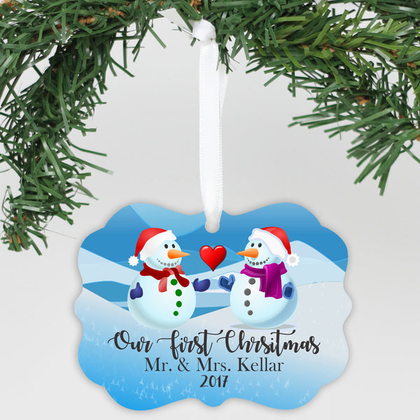 "Personalized Aluminum Ornament - ""First Christmas Snowmen"""
