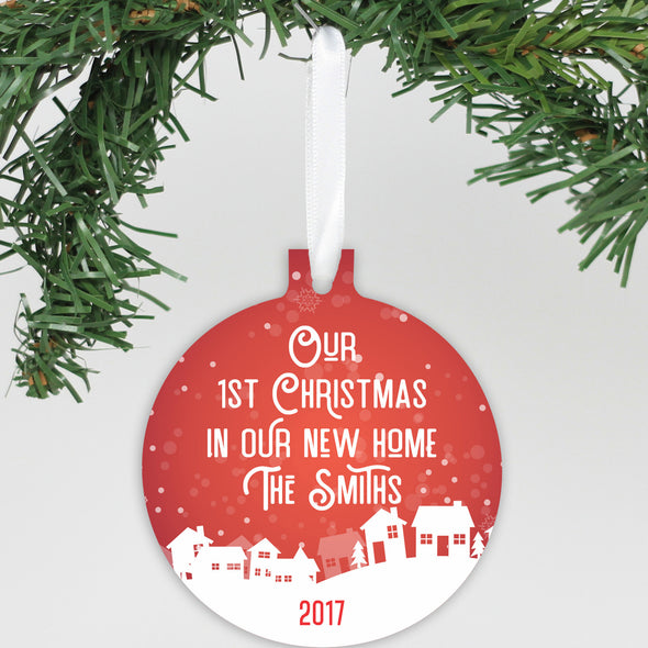 "Personalized Aluminum Ornament - ""Our First Christmas In Our New Home"""