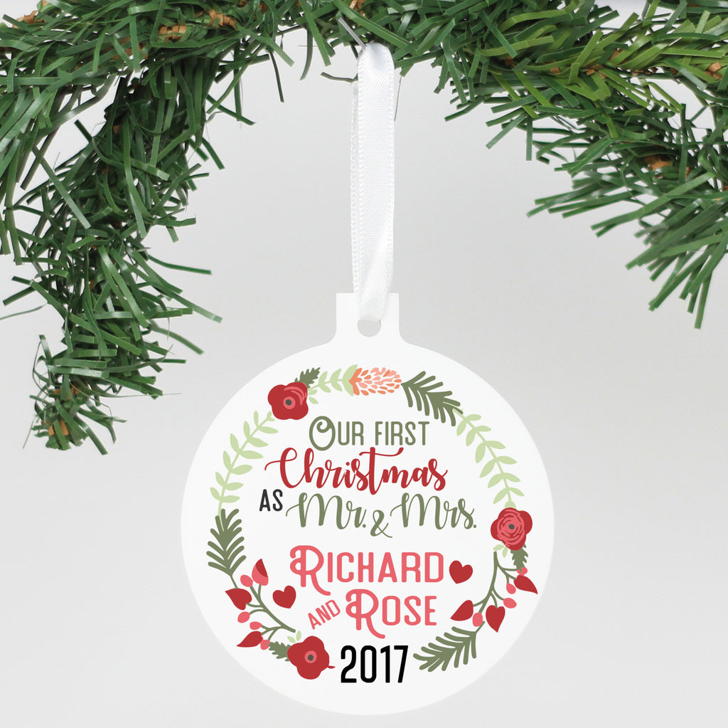 "Personalized Aluminum Ornament - ""Our First Christmas"""